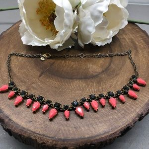 J. Crew Teardrop Necklace in Neon Pink and Gray